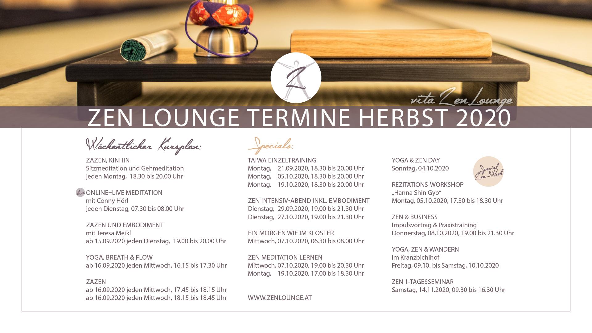 Herbst Kursplan Zen Lounge Salzburg